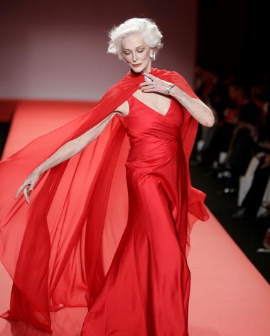 NEW YORK - FEBRUARY 04: Model Carmen Dell'Orefice walks the runway at the Heart Truth Red Dress Collection during the Olympus Fashion Week at Bryant Park February 4, 2005 in New York City. (Photo by Carlo Allegri/Getty Images)